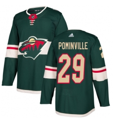 Men's Adidas Minnesota Wild #29 Jason Pominville Green Home Authentic Stitched NHL Jersey
