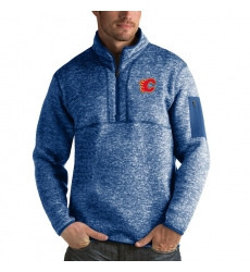 Men's Calgary Flames Antigua Fortune Quarter-Zip Pullover Jacket Blue