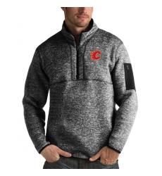 Men's Calgary Flames Antigua Fortune Quarter-Zip Pullover Jacket Charcoal