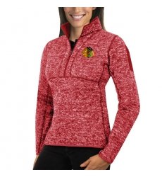 Chicago Blackhawks Antigua Women's Fortune Zip Pullover Sweater Red
