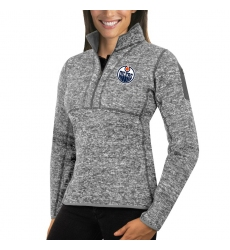 Edmonton Oilers Antigua Women's Fortune Zip Pullover Sweater Black