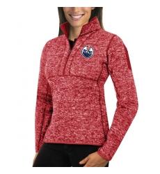 Edmonton Oilers Antigua Women's Fortune Zip Pullover Sweater Red