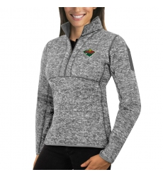 Minnesota Wild Antigua Women's Fortune Zip Pullover Sweater Black