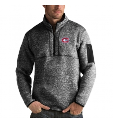 Men's Montreal Canadiens Antigua Fortune Quarter-Zip Pullover Jacket Charcoal