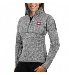 Montreal Canadiens Antigua Women's Fortune Zip Pullover Sweater Black