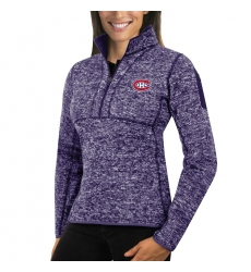 Montreal Canadiens Antigua Women's Fortune Zip Pullover Sweater Purple