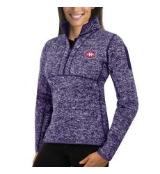 Montreal Canadiens Antigua Women's Fortune Zip Pullover Sweater Purple
