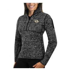Nashville Predators Antigua Women's Fortune Zip Pullover Sweater Charcoal