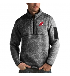 Men's New Jersey Devils Antigua Fortune Quarter-Zip Pullover Jacket Charcoal