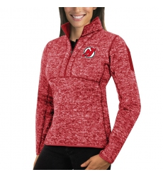 New Jersey Devils Antigua Women's Fortune Zip Pullover Sweater Red