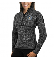 Pittsburgh Penguins Antigua Women's Fortune Zip Pullover Sweater Charcoal