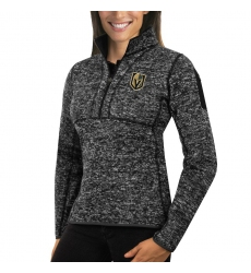 Vegas Golden Knights Antigua Women's Fortune Zip Pullover Sweater Charcoal