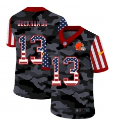 Men's Cleveland Browns #13 Odell Beckham Jr. Camo Flag Nike Limited Jersey