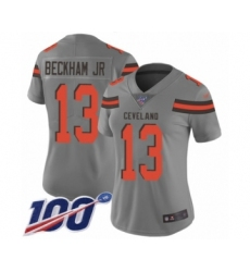 Women's Cleveland Browns #13 Odell Beckham Jr. 100th Season Limited Gray Inverted Legend Football Jersey