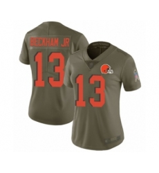Women's Odell Beckham Jr. Limited Olive Nike Jersey NFL Cleveland Browns #13 2017 Salute to Service