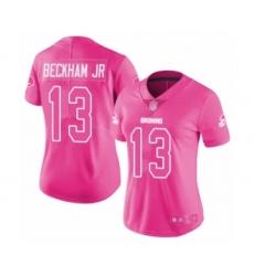 Women's Odell Beckham Jr. Limited Pink Nike Jersey NFL Cleveland Browns #13 Rush Fashion