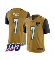 Youth Nike Jacksonville Jaguars #7 Nick Foles Limited Gold Rush Vapor Untouchable 100th Season NFL Jersey
