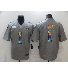 Men's Arizona Cardinals #1 Kyler Murray Gray Rainbow Version Nike Limited Jersey