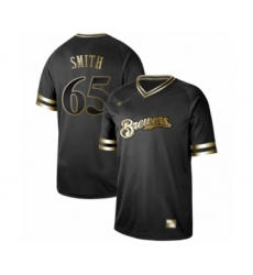 Men's Milwaukee Brewers #65 Burch Smith Authentic Black Gold Fashion Baseball Jersey