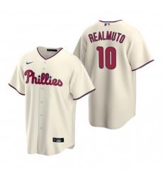 Men's Nike Philadelphia Phillies #10 J.T. Realmuto Cream Alternate Stitched Baseball Jersey