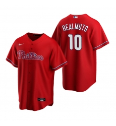 Men's Nike Philadelphia Phillies #10 J.T. Realmuto Red Alternate Stitched Baseball Jersey
