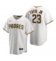 Men's Nike San Diego Padres #23 Fernando Tatis Jr. White Brown Home Stitched Baseball Jersey