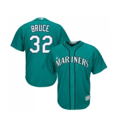 Men's Seattle Mariners #32 Jay Bruce Replica Teal Green Alternate Cool Base Baseball Jersey