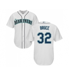 Men's Seattle Mariners #32 Jay Bruce Replica White Home Cool Base Baseball Jersey