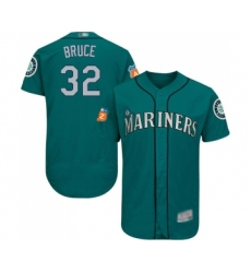 Men's Seattle Mariners #32 Jay Bruce Teal Green Alternate Flex Base Authentic Collection Baseball Jersey