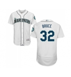 Men's Seattle Mariners #32 Jay Bruce White Home Flex Base Authentic Collection Baseball Jersey