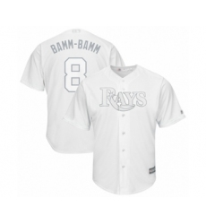 Men's Tampa Bay Rays #8 Brandon Lowe  Bamm-Bamm Authentic White 2019 Players Weekend Baseball Jersey