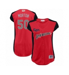 Women's Tampa Bay Rays #50 Charlie Morton Authentic Red American League 2019 Baseball All-Star Jersey