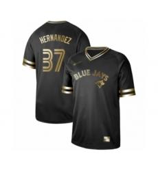 Men's Toronto Blue Jays #37 Teoscar Hernandez Authentic Black Gold Fashion Baseball Jersey