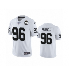 Men's Oakland Raiders #96 Clelin Ferrell White 60th Anniversary Vapor Untouchable Limited Player 100th Season Football Jersey