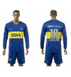 Boca Juniors #10 Carlitos Home Long Sleeves Soccer Club Jersey