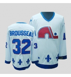 Nordiques #32 Paul Brousseau Stitched CCM Throwback white NHL Jersey