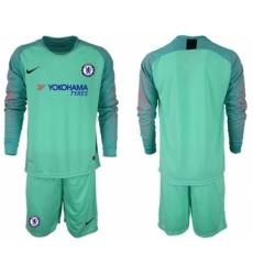 Chelsea Blank Green Goalkeeper Long Sleeves Soccer Club Jersey