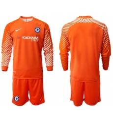 Chelsea Blank Orange Goalkeeper Long Sleeves Soccer Club Jersey