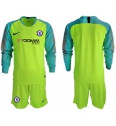 Chelsea Blank Shiny Green Goalkeeper Long Sleeves Soccer Club Jersey