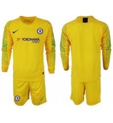 Chelsea Blank Yellow Goalkeeper Long Sleeves Soccer Club Jersey