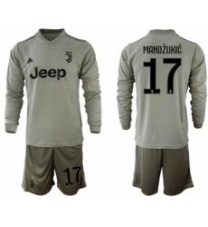 Juventus #17 Mandzukic Away Long Sleeves Soccer Club Jersey