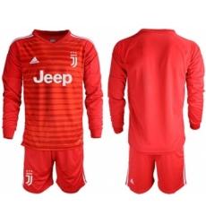 Juventus Blank Red Goalkeeper Long Sleeves Soccer Club Jersey