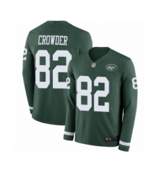 Men's New York Jets #82 Jamison Crowder Limited Green Therma Long Sleeve Football Jersey