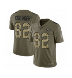 Men's New York Jets #82 Jamison Crowder Limited Olive Camo 2017 Salute to Service Football Jersey