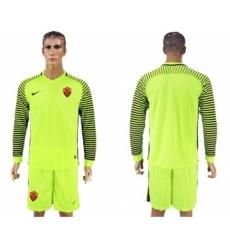 Roma Blank Shiny Green Goalkeeper Long Sleeves Soccer Club Jersey