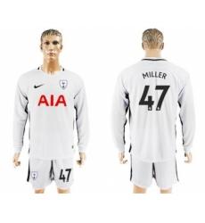 Tottenham Hotspur #47 Miller Home Long Sleeves Soccer Club Jersey
