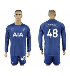 Tottenham Hotspur #48 Edwards Away Long Sleeves Soccer Club Jersey