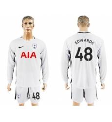 Tottenham Hotspur #48 Edwards Home Long Sleeves Soccer Club Jersey
