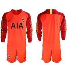 Tottenham Hotspur Blank Red Goalkeeper Long Sleeves Soccer Club Jersey