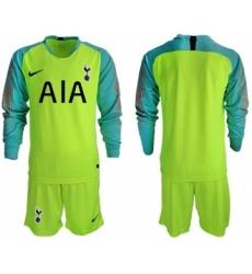 Tottenham Hotspur Blank Shiny Green Goalkeeper Long Sleeves Soccer Club Jersey